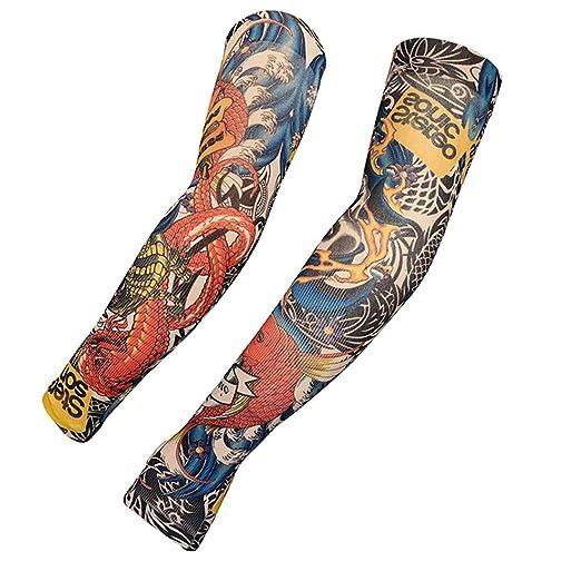 KEHUASHINA Mangas del Tatuaje Falsa protección Temporal del Brazo ...