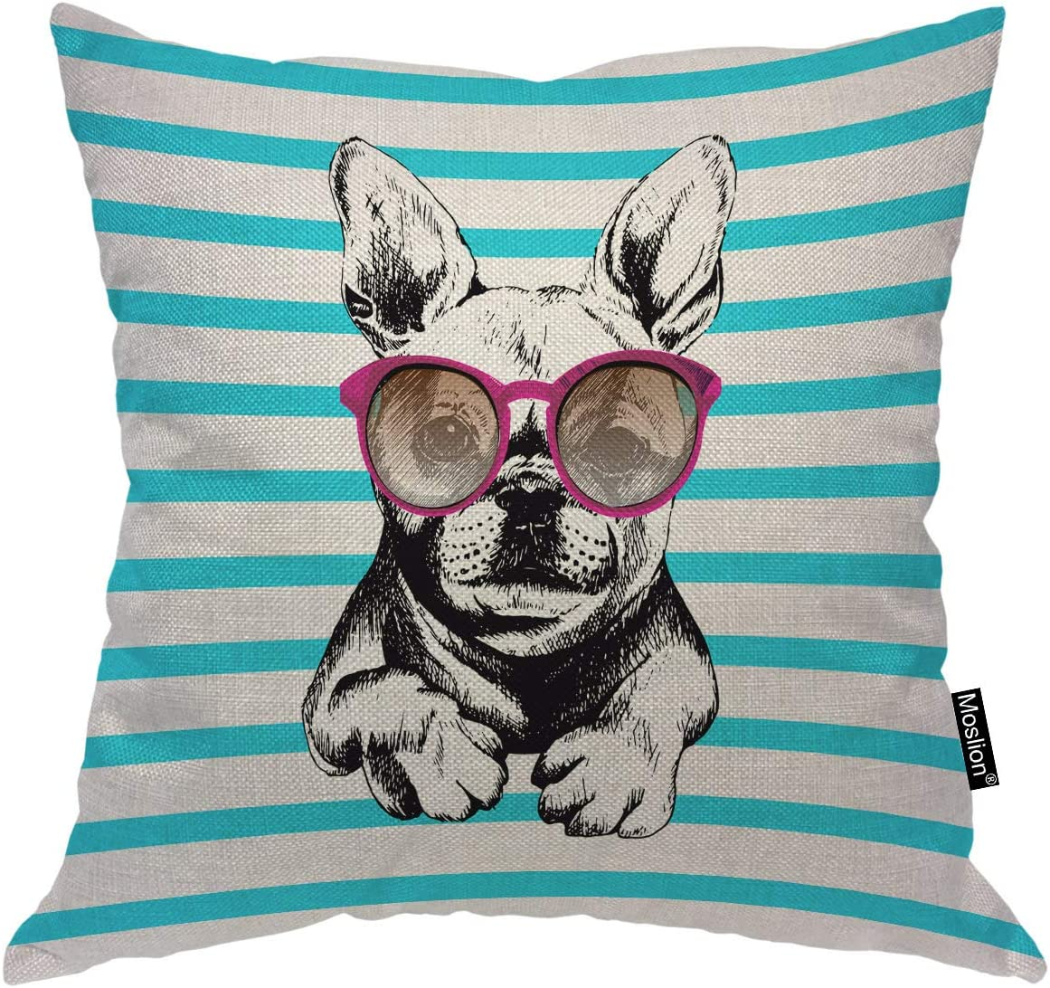 """Moslion Dog Pillow Home Decorative Throw Pillow Cover Dog Wear Purple Sunglasses Pattern Square Cushion Cover Standard Pillow Cases for Women Girls Kid Sofa Bedroom Livingroom 18""""x18"""" Black Teal …"""