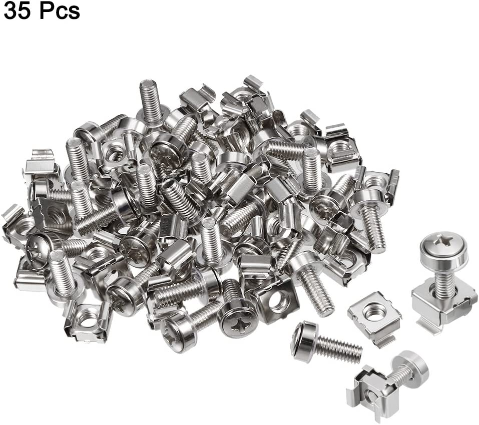 M5x20mm Cage Nuts and Screws Carbon Steel for Server Rack Cabinet uxcell 35 Pack