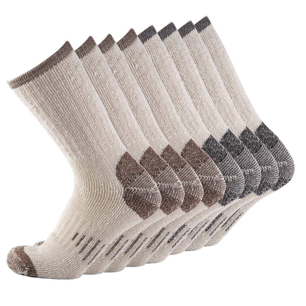 Men 70% Merino wool Crew Socks - NEVSNEV Warm Socks for Men, Athletic Socks for Hiking, Skiing,Trekking,Camping (4 Pair BLACKx2+BROWNx2) by NEVSNEV