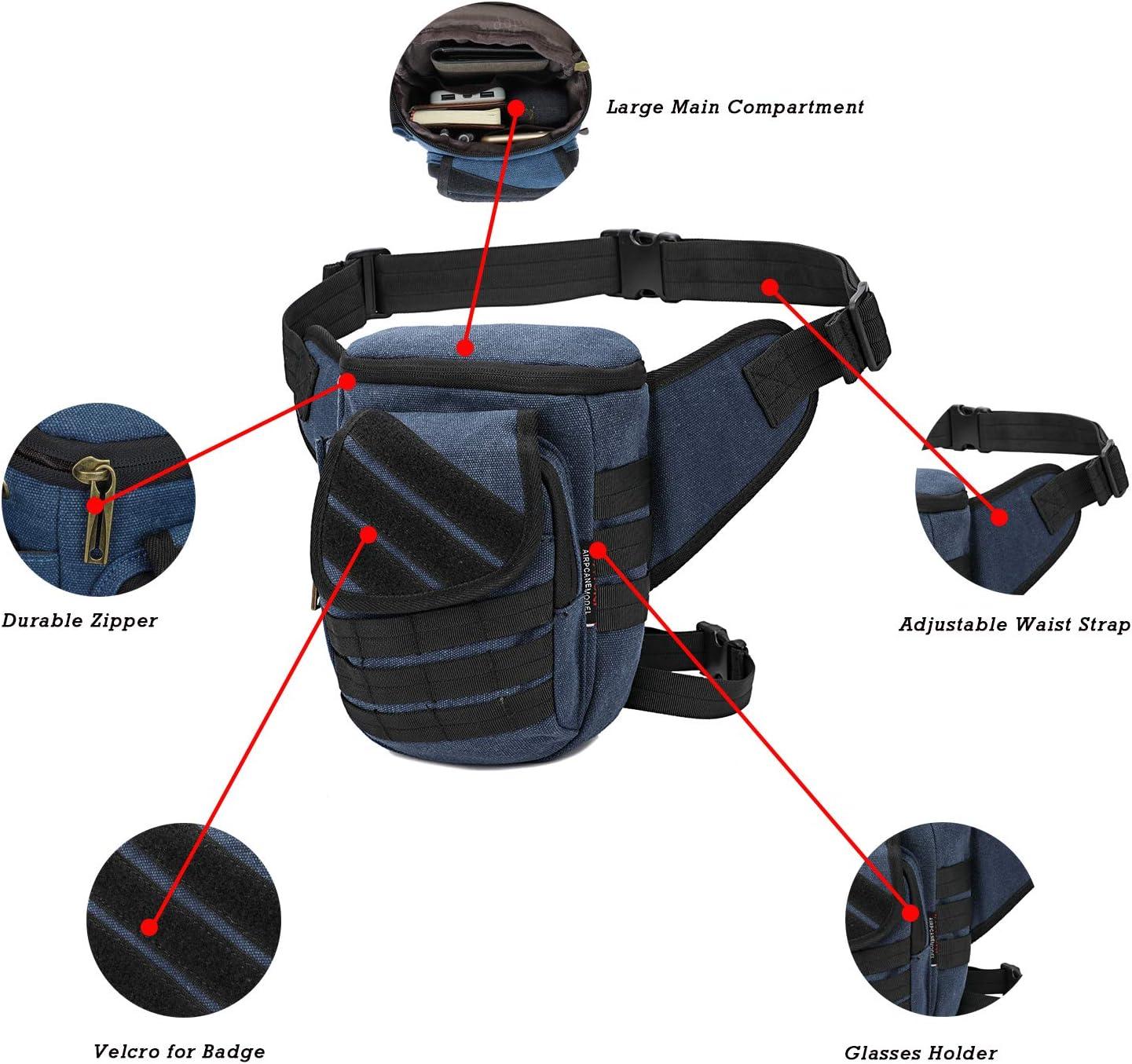 AOPUOP Canvas Tactical Pouch Leg Bag Multi-Functional Outdoor Leisure Waist Bag for Men and Women