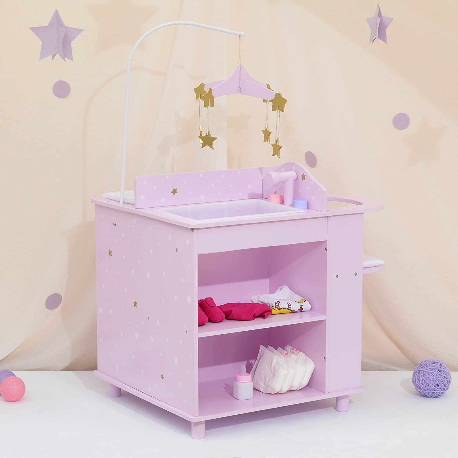 Olivia's Little World - Twinkle Stars Princess Baby Doll Changing Station, Baby Care Activity Center, Role Play Nursery Center with Storage for Dolls Accessories - Purple & Stars
