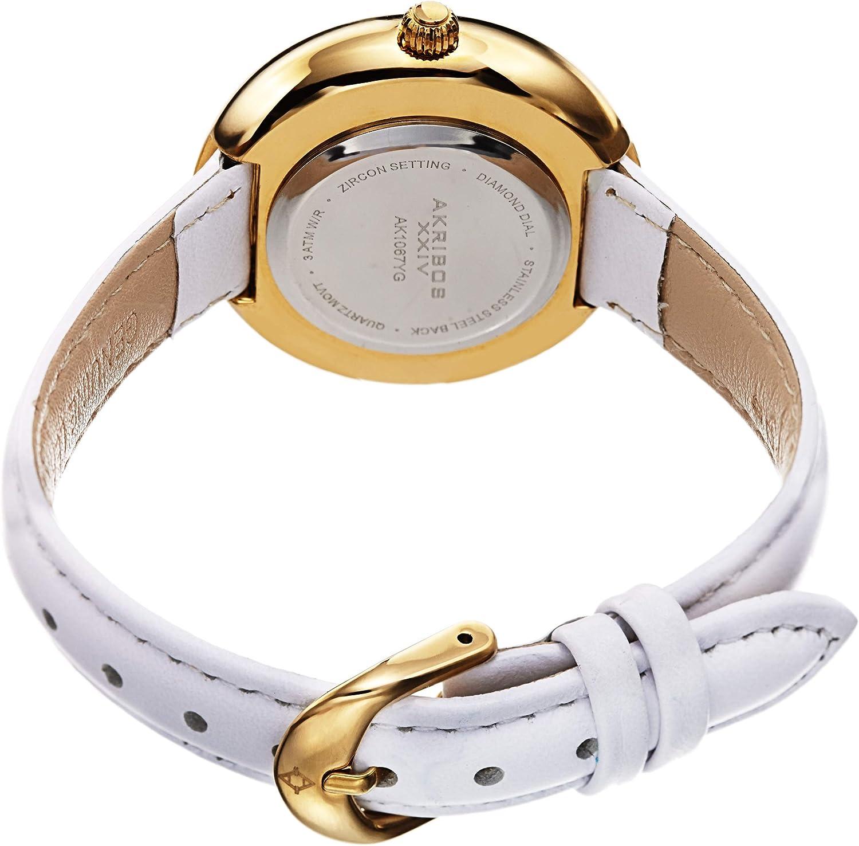 Akribos XXIV AK1067 Women's Leather Watch – 4 Genuine Diamond Markers, CZ Crystal Studded Bezel, Sunray Dial – Casual, Elegant Fashion Bracelet Watch White & Gold
