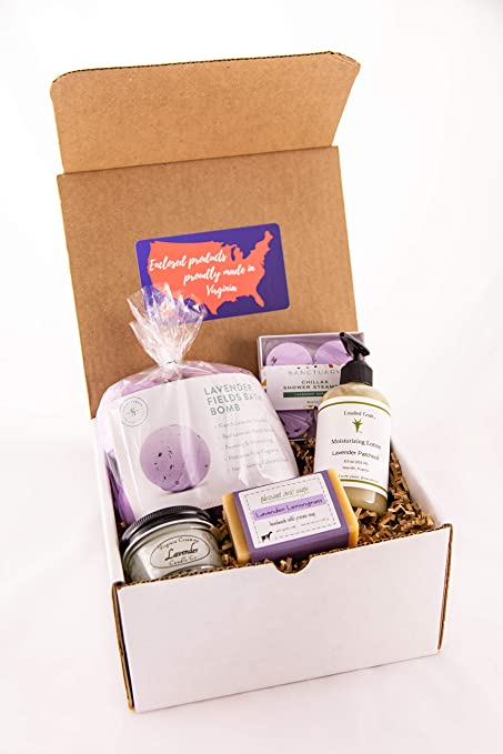 Virginia Gift Box - Lavender Spa Set - All Products Handmade in VA - Relaxing Bath Kit - Perfect Present for Women of All Ages