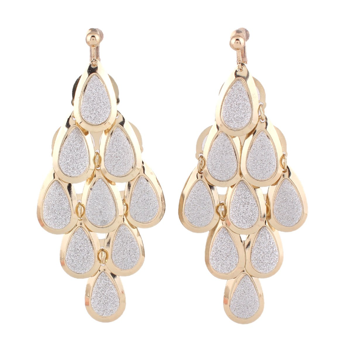 Grace Jun New Handmade Multi-layer Dangle Drop Earrings and Clip on Earrings No Pierced for Women (Gold Clip-on 2)