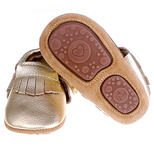 676b22f9587 Pidoli Baby Leather Shoes Unisex Girls Boys Moccasins Rubber Sole (2 US5M  0-6Month