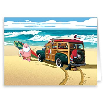 Beach Christmas Cards >> Santa S Classic Woody Beach Christmas Card 18 Cards Envelopes Beach Christmas Cards