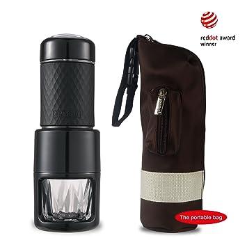 ... SP-200 Cafetera Italiana Express Manual de Viaje Máquina de Café Capuchino Portátil con Copa de Cristal Color Negro (Negro + bolsa): Amazon.es: Hogar