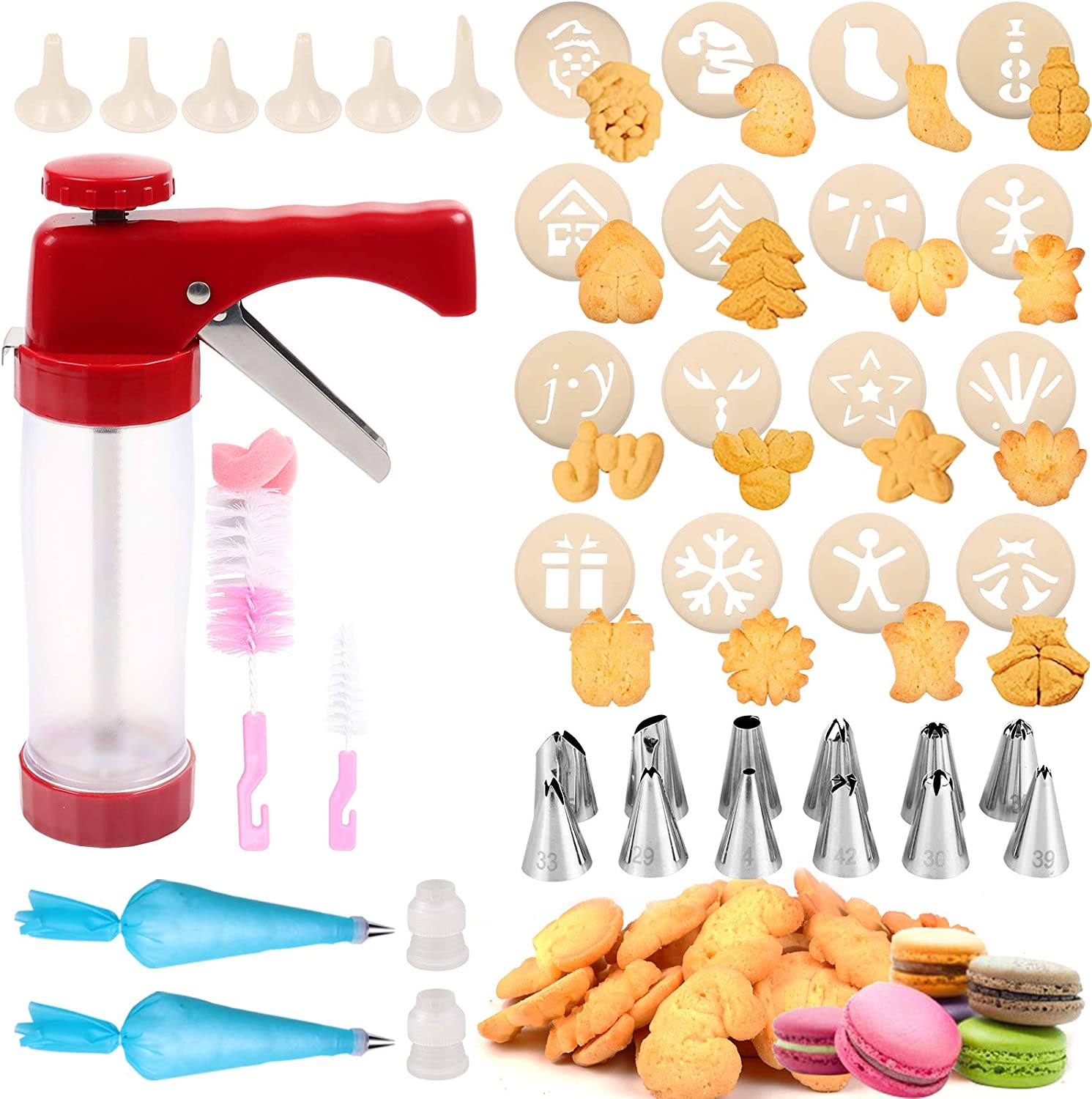 Cookie Press 41 PCS Cookie Press Gun with 16 Christmas Spritz Mold Decorative Stencil Discs, Icing Tips, EVA bags for Cookies, Biscuit,Macaroon & Churro Maker-Good Baking Kits for Christmas