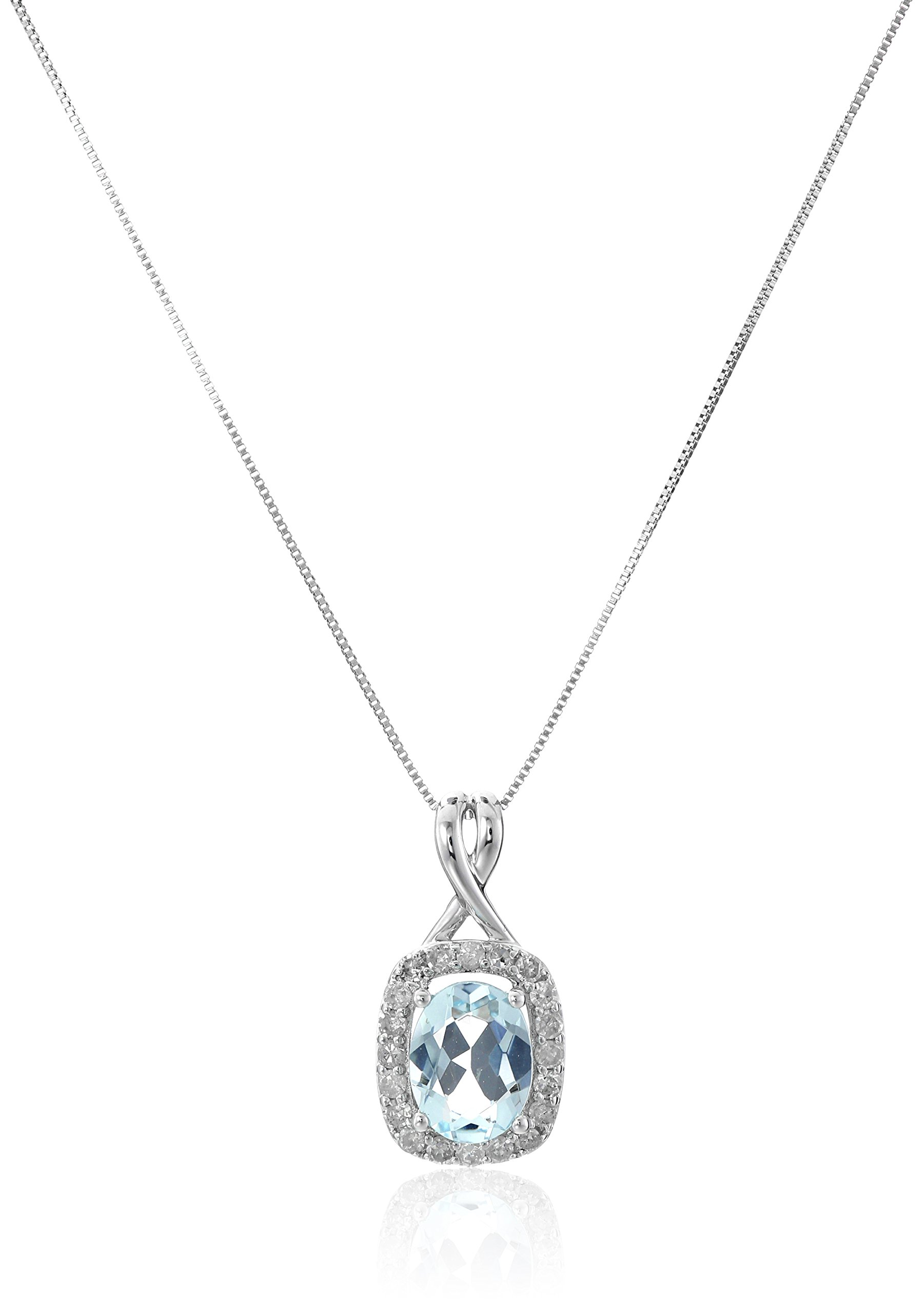 14k White Gold Aquamarine and Diamond (1/4 cttw, H-I Color, I2-I3 Clarity) Twisted Pendant Necklace, 18''