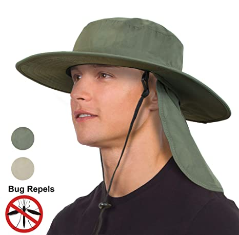 cb6dcab9 Solaris Unisex Fishing Hat with Foldable Neck Flap Cover Wide Brim Sun Uv  Protection Hiking Safari Bucket Cap for Bug Free(Olive): Amazon.in: Sports,  ...