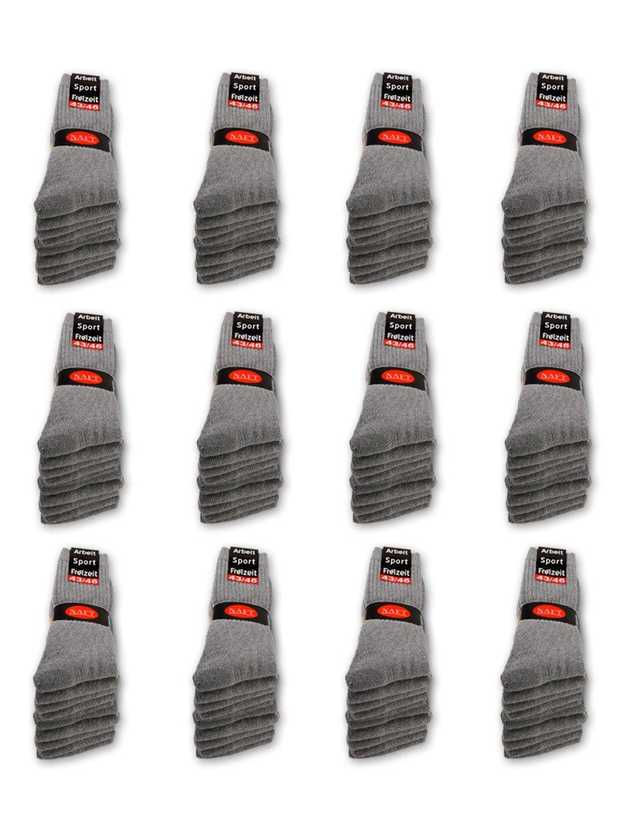 60 Paar Tennissocken Sportsocken Arbeitssocken Hellgrau - Damen & Herren - 43-46 Naft