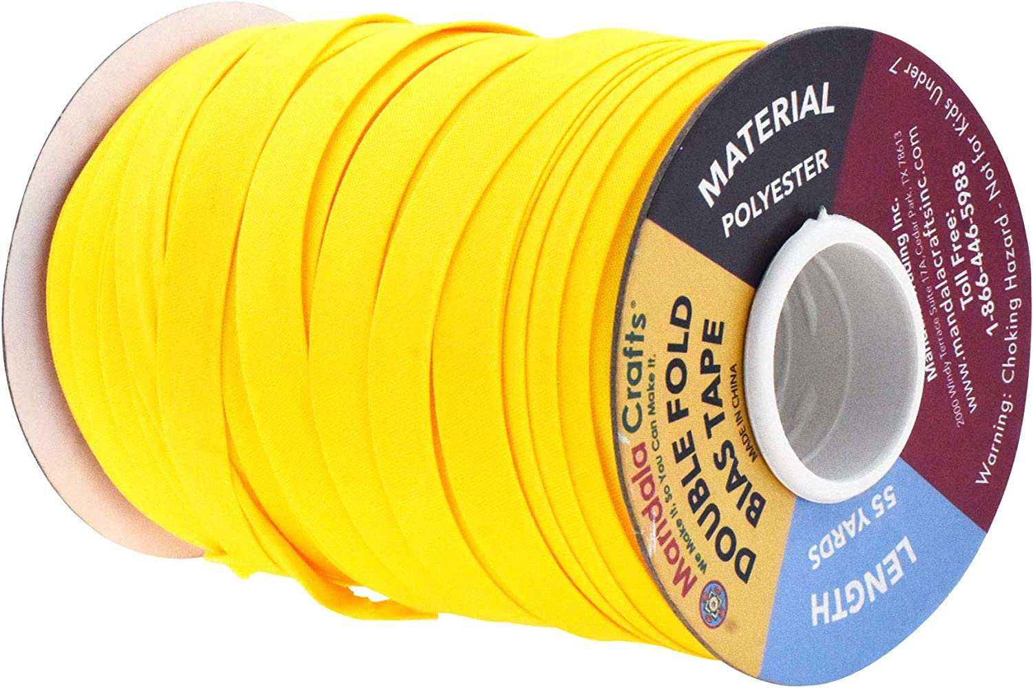 1//2 Inch 55 Yards, Yellow Quilting; 1//2 Inch 55 Yards; by Mandala Crafts Hemming Binding Piping Double Fold Bias Tape for Sewing Seaming