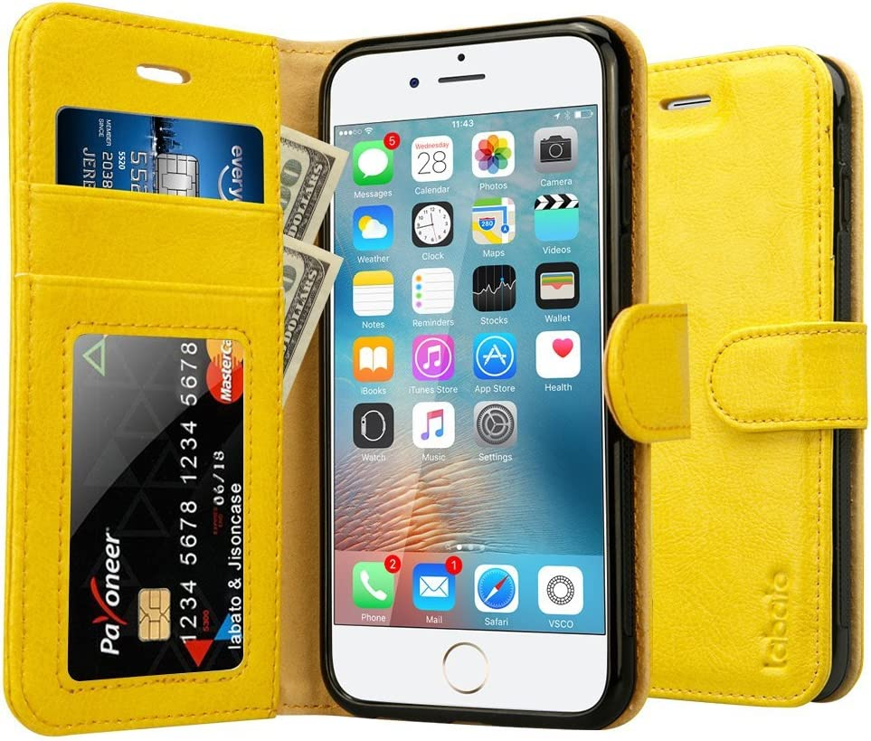 Labato Compatible with iPhone 6S Case/iPhone 6S Wallet Leather Case, Genuine Leather Case Flip Folio with Card Slots/Cash Compartment Magnetic Cover for iPhone 6/6S Cases Yellow 4.7 inch