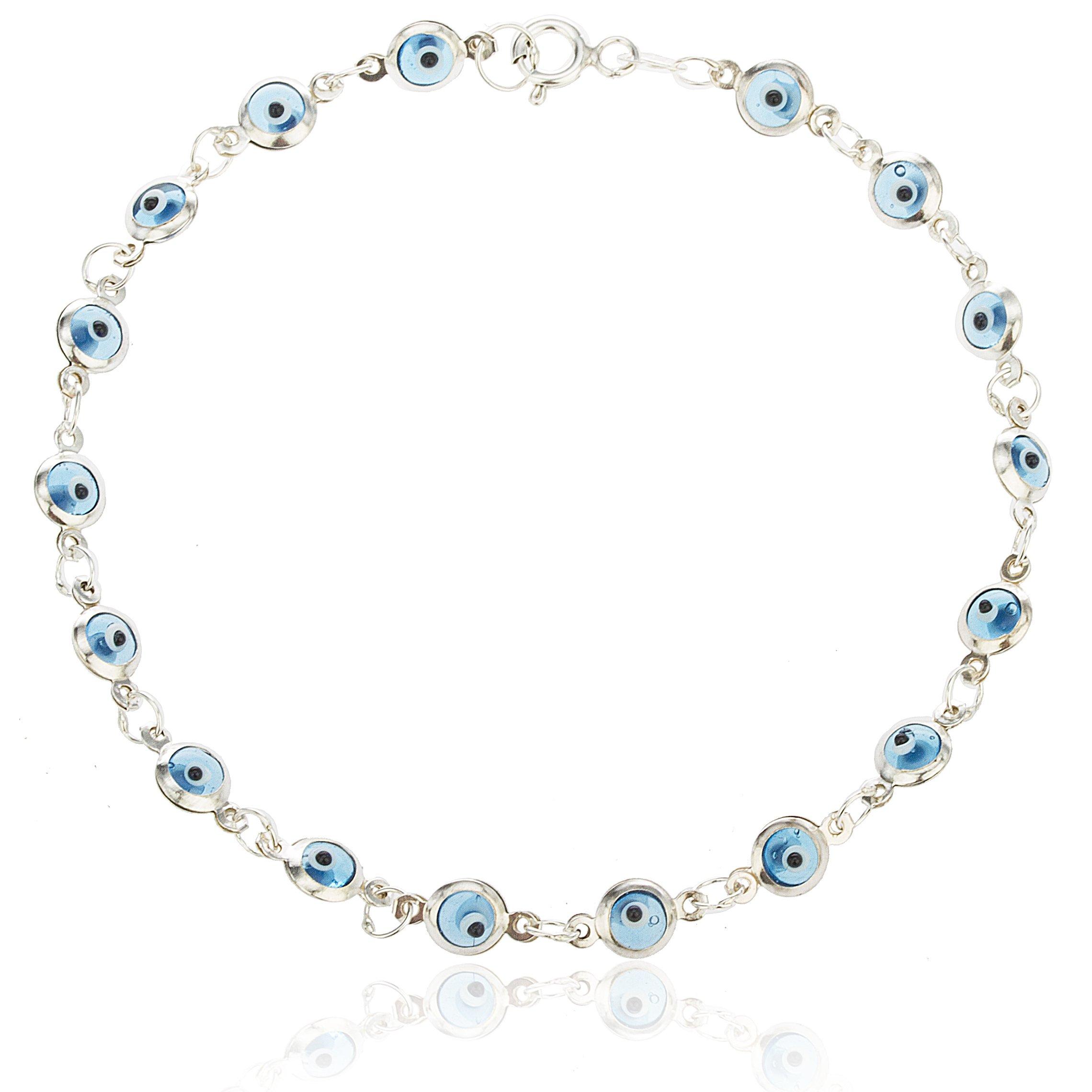925 Sterling Silver with Aqua Blue Evil Eye Charmed 7 Inch Bracelet..(I-1956)