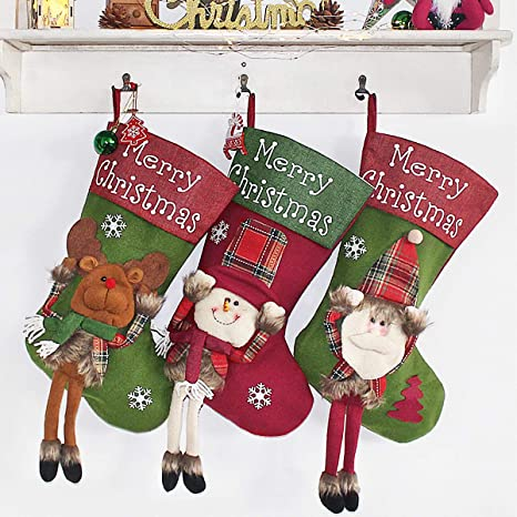Christmas Stocking 18 Personalized Xmas Stockings Set Of 3 With 3d Snowflake Santa Snowman Reindeer Classic Stocking Decorations For Xmas Tree Holiday Family Party Style 3 Home Kitchen