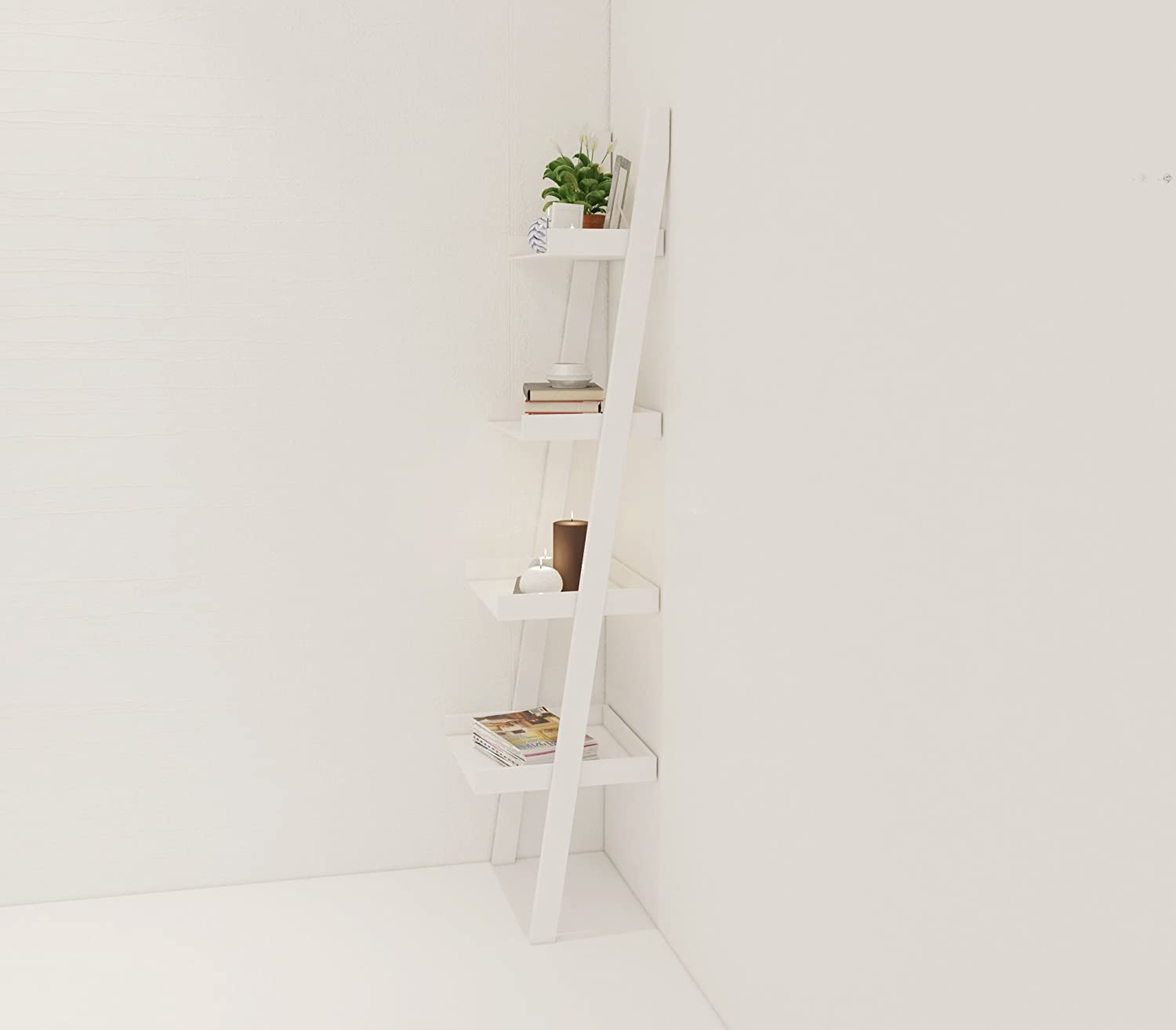 Amazoncom Amayo Home 4 Tier Bookcase White Ladder Shelf Unit