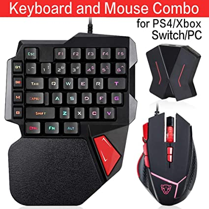 Motospeed Custom Wired Backlight Mechanical Feel Gaming Keyboard and Mouse  Combo - for PS4/PS3/xbox One/Switch (Including C91 Converter) (Custom,