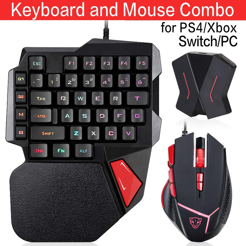 Motospeed Custom Wired Backlight Mechanical Feel Gaming Keyboard and Mouse Combo - for PS4/PS3/xbox One/Switch (Including C91 Converter) (Custom, Black-red)