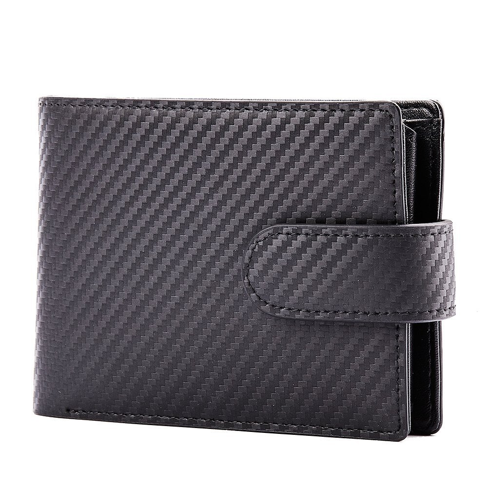 Genuine Leather Fourfold Buckled Wallets for Men Soft Credit Card Holder with Coins Compartment