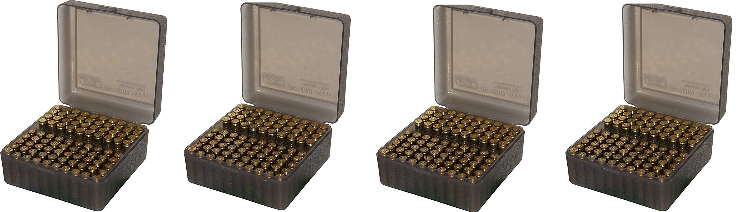 MTM 100 Round Flip-Top Rifle Ammo Box, Medium, Clear Smoke (Pack of 4)