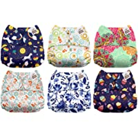 Mama Koala One Size Baby Washable Reusable Pocket Cloth Diapers, 6 Pack with 6 One Size Microfiber Inserts (Little Miss Perfect)