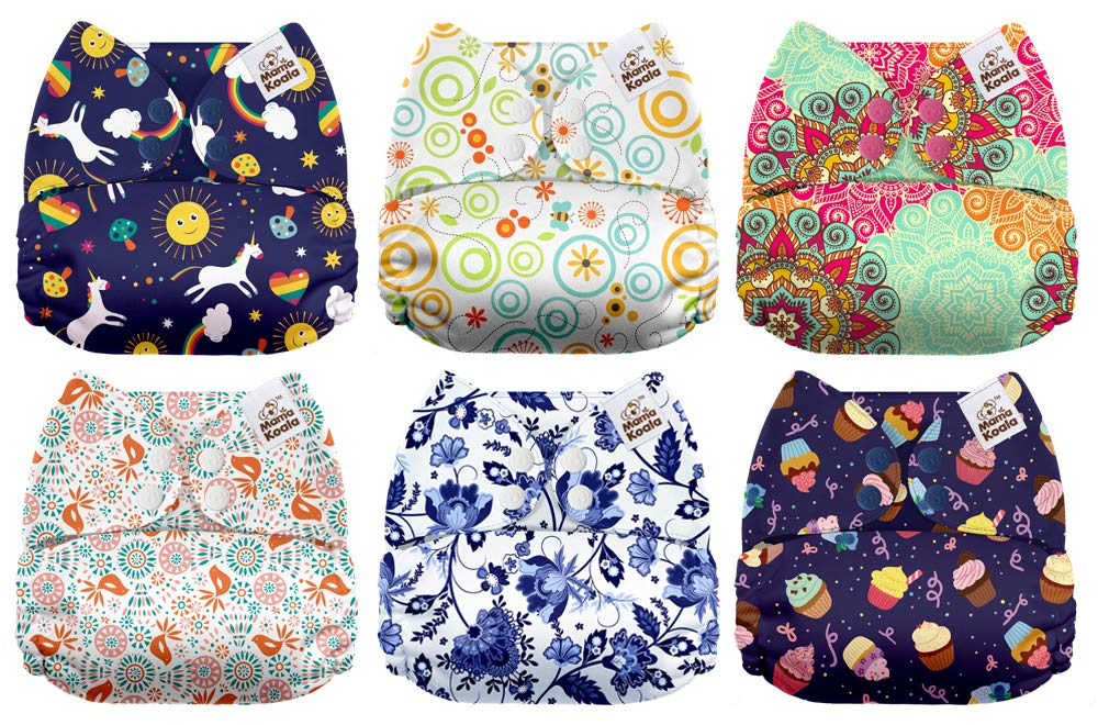 6 Pack with 6 One Size Microfiber Inserts Aloha Mama Koala One Size Baby Washable Reusable Pocket Cloth Diapers