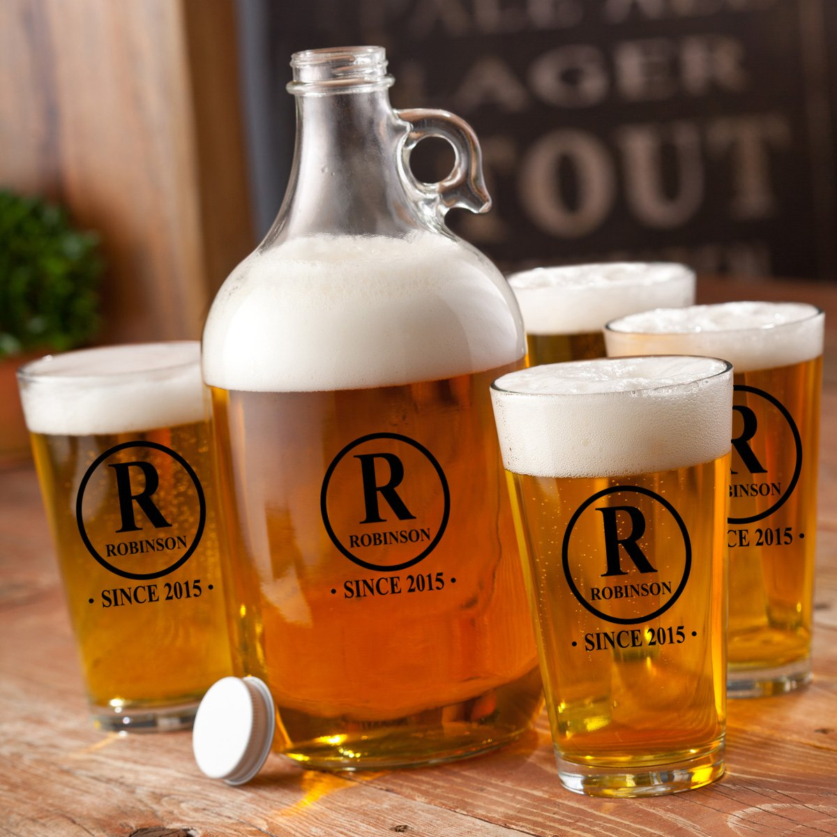 Personalized Beer Printed Growler Set With 4 -16 oz Pint Glasses - Engraved Beer Growler