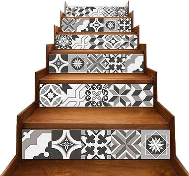 TONGXU 6PCS Pegatinas Adhesivos Autoadhesivos para Escaleras Cocina Piso Baño Decoración Vintage Multicolor Multi-estilo Hogar Impermeable Extraíble Etiqueta de Pared 18x100cm (Geometría Gris): Amazon.es: Bricolaje y herramientas