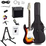 Display4top Kit de guitarra eléctrica Amplificador de 20 vatios, soporte de guitarra, bolsa,
