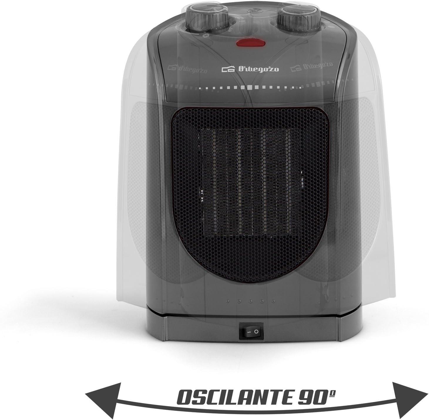 Orbegozo CR 5037 – Calefactor eléctrico cerámico con movimiento oscilante, 1800 W de potencia, 2 posiciones de calor: Amazon.es: Hogar