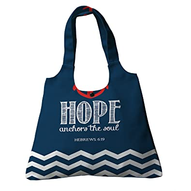 d410c610ad Amazon.com  Custom Navy Chevron Hope Anchor The Soul Canvas Shoulder Bags  Handbags Tote Bags Shopping Bag  Shoes