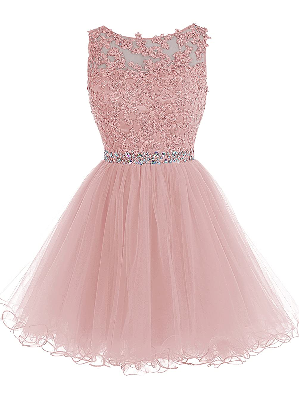 bluesh TideClothes Short Beaded Homecoming Dress Tulle Applique Prom Party Gowns