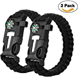 Multifunctional Paracord Bracelet, Cos2be Outdoor Survival Kit Parachute Cord Buckle W Compass Flint Fire Starter Whistle Scraper for Hiking Camping Emergency
