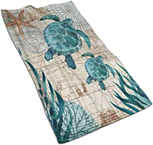 antoipyns Ocean Blue Teal Sea Turtle Beach Highly Absorbent Large Decorative Hand Towels Multipurpose for Bathroom, Hotel, Gym and Spa (16 X 30 Inches)