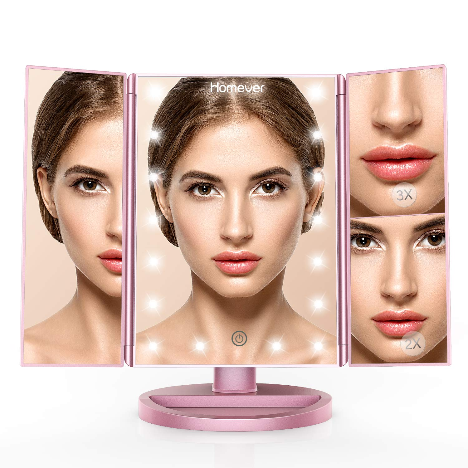 Homever Makeup Vanity Mirror with 21 LED Lights, 3X/2X Magnifying Lighted Makeup Mirror with Touch-Screen, 180° Free Rotation, Dual Power Supply, Upgrade in 2018 (Rose gold)