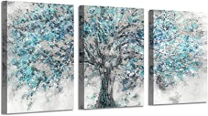 "Abstract Artwork Landscape Wall Art: Blooming Tree Painting Print on Canvas for Bedroom ( 16"" x 12"" x 3 Panels )"