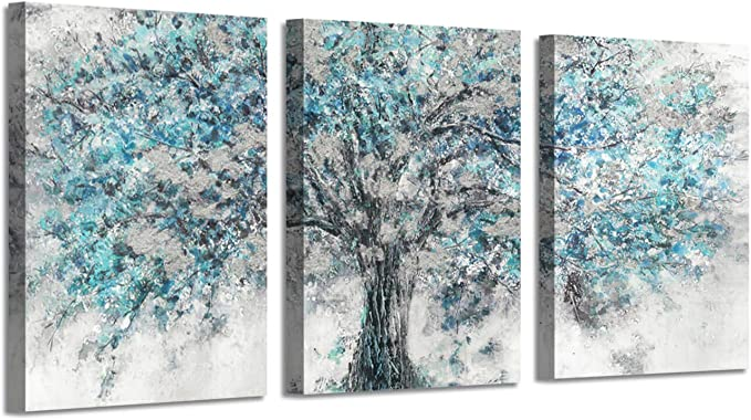 Abstract Artwork Landscape Wall Art: Blooming Tree Painting Print on Canvas for Bedroom