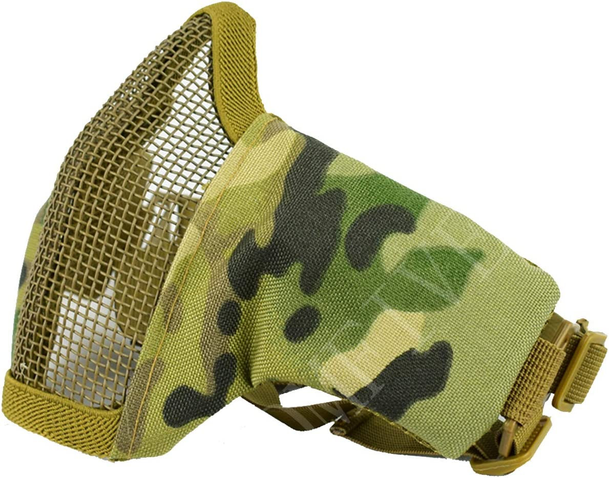 táctico Media mascarilla QMFIVE Plegable de la máscara al Aire Libre Malla Protectora Riding máscara Transpirable para Airsoft Paintball CS con Correa Ajustable Cinturón