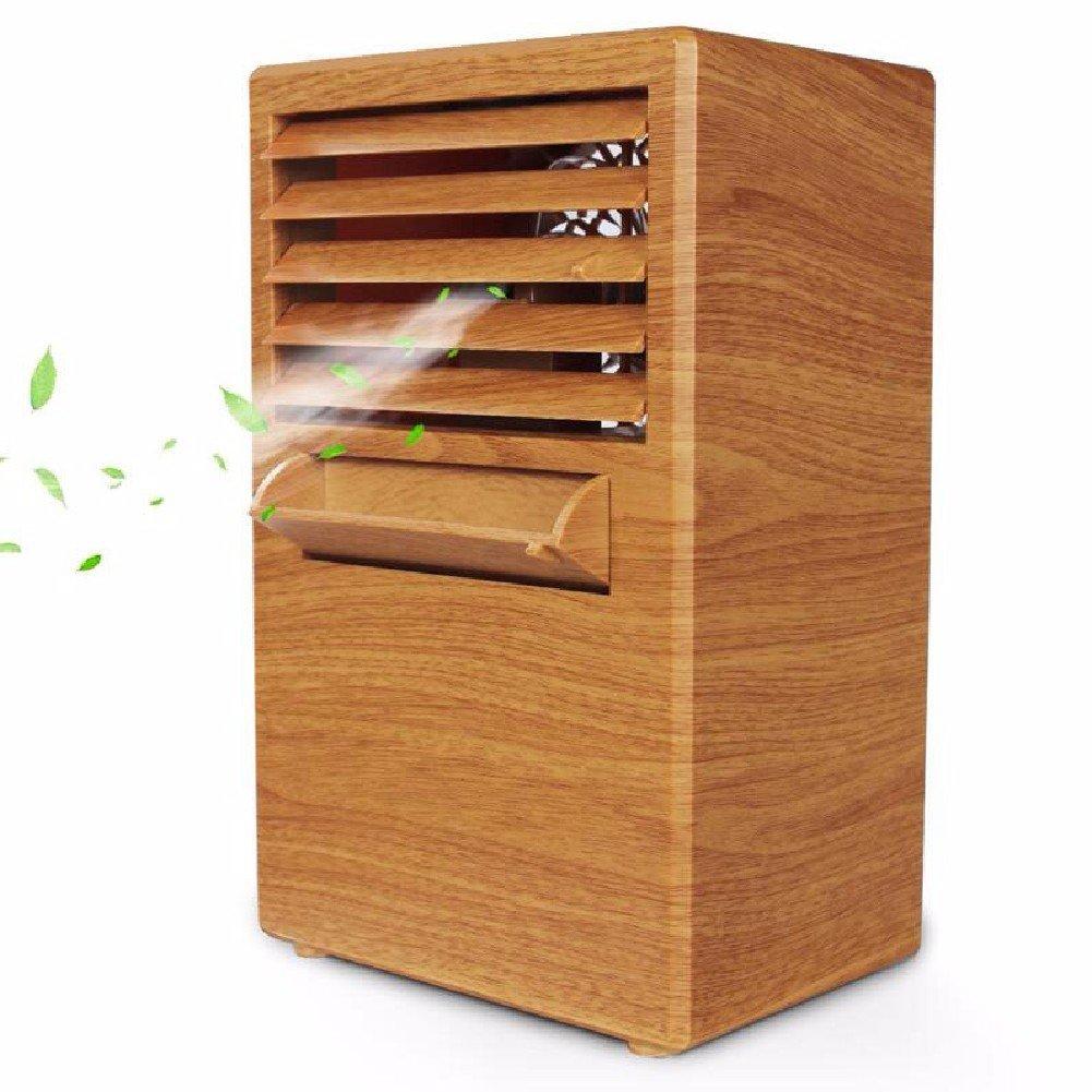 ZPSPZ-Fan Mini Mini Fan Dormitory Bedroom Air Conditioning Refrigeration Office Desktop Student Bed Silent Wood Grain Fan