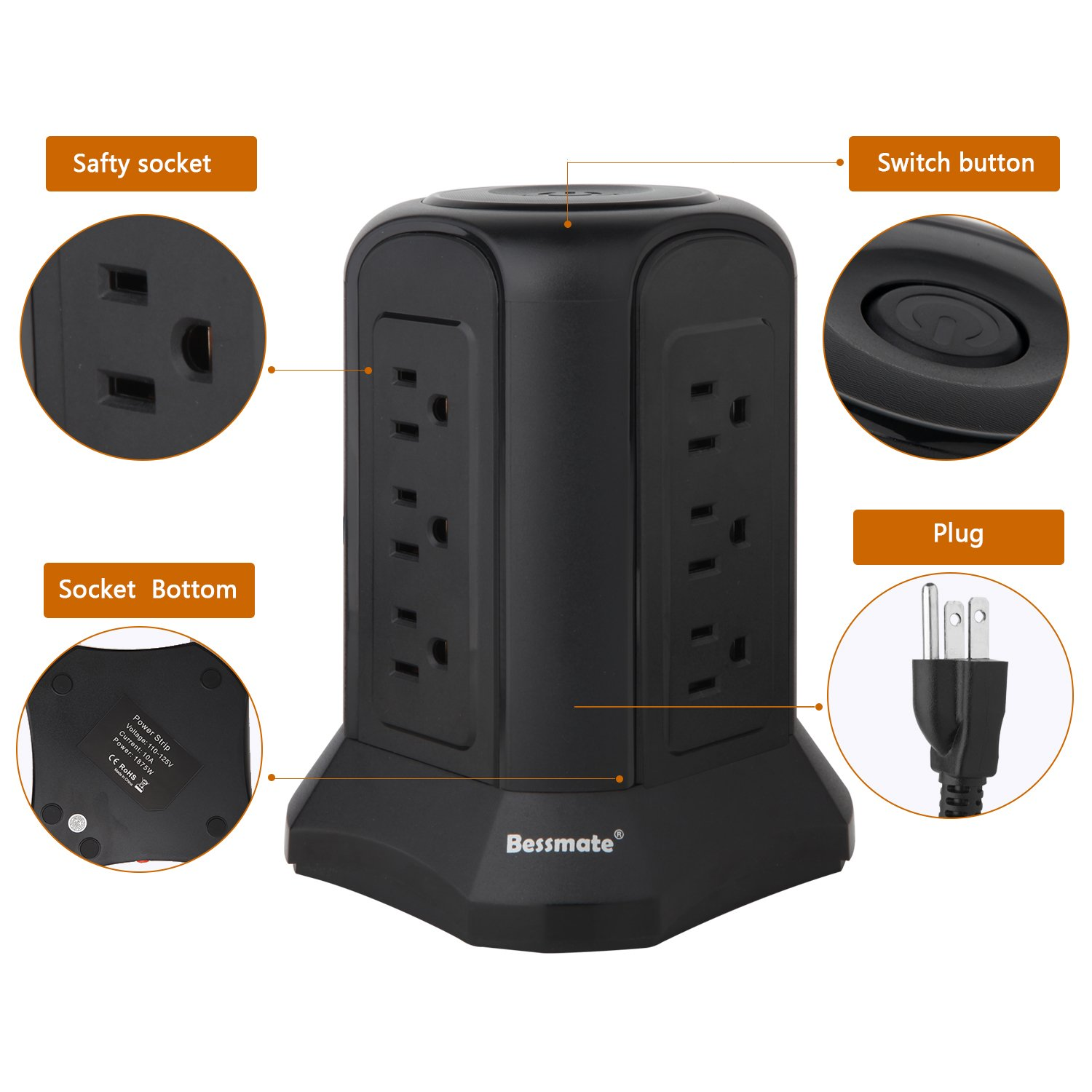 Bessmate Power Strip 12 Outlet Surge Protector with 6.5-Foot Power Cord -1000 Joules (Black) by Bessmate (Image #3)