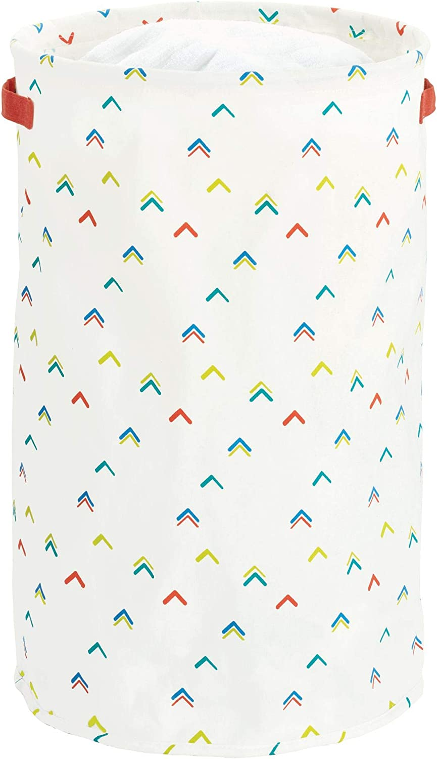 iDesign Arrow Fabric Round Storage Bin, Basket Container Mini Hamper with Dual Side Handles for Closet, Bedroom, Laundry, Clothing, Toys, Nursery - Multicolored