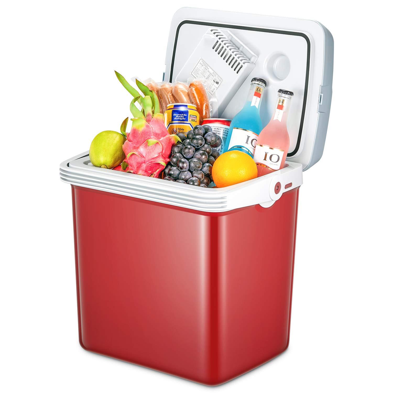 TIBEK Kühlbox für Auto mit Doppelspannung, Wechselstrom 12 V/DC 220-240 V, tragbarer Autokühler, 25 l elektrische Kühlbox für Reisen und Camping
