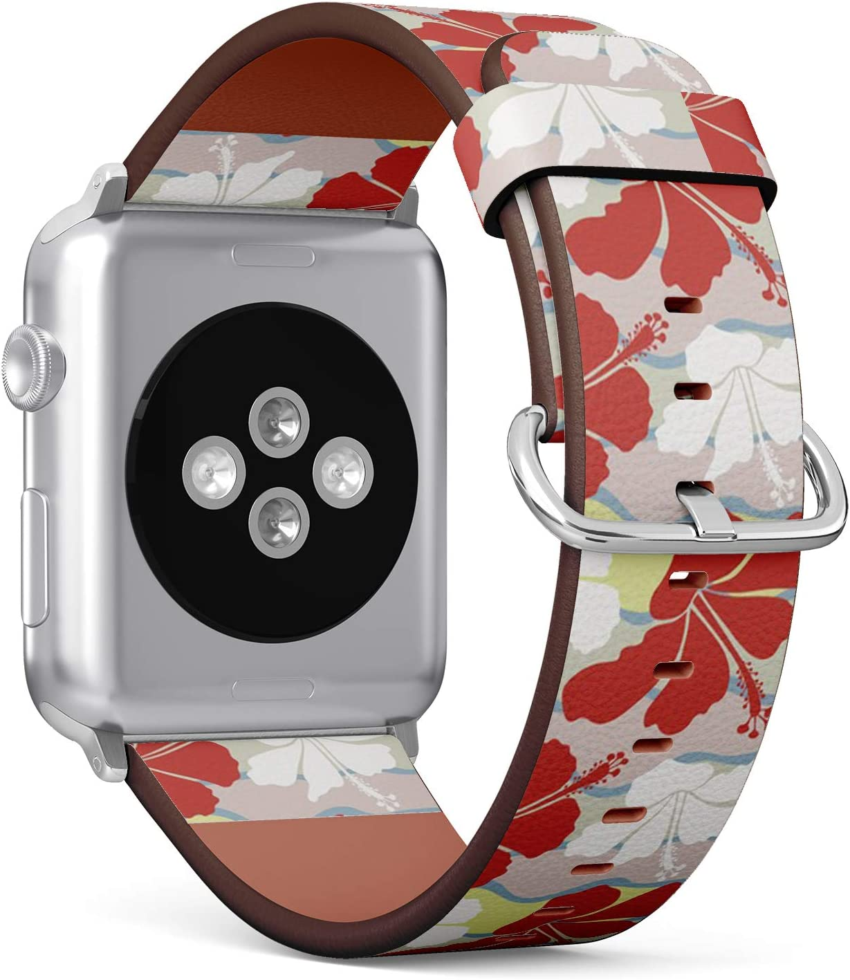 Compatible with Apple Watch (Big 42mm/44mm) Series 1,2,3,4 - Leather Band Bracelet Strap Wristband Replacement - Hawaiian Aloha Shirt