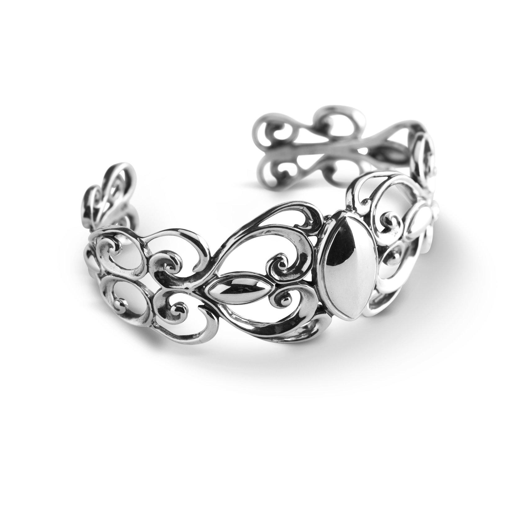 Carolyn Pollack Sterling Silver Swirl Scroll Cuff Bracelet