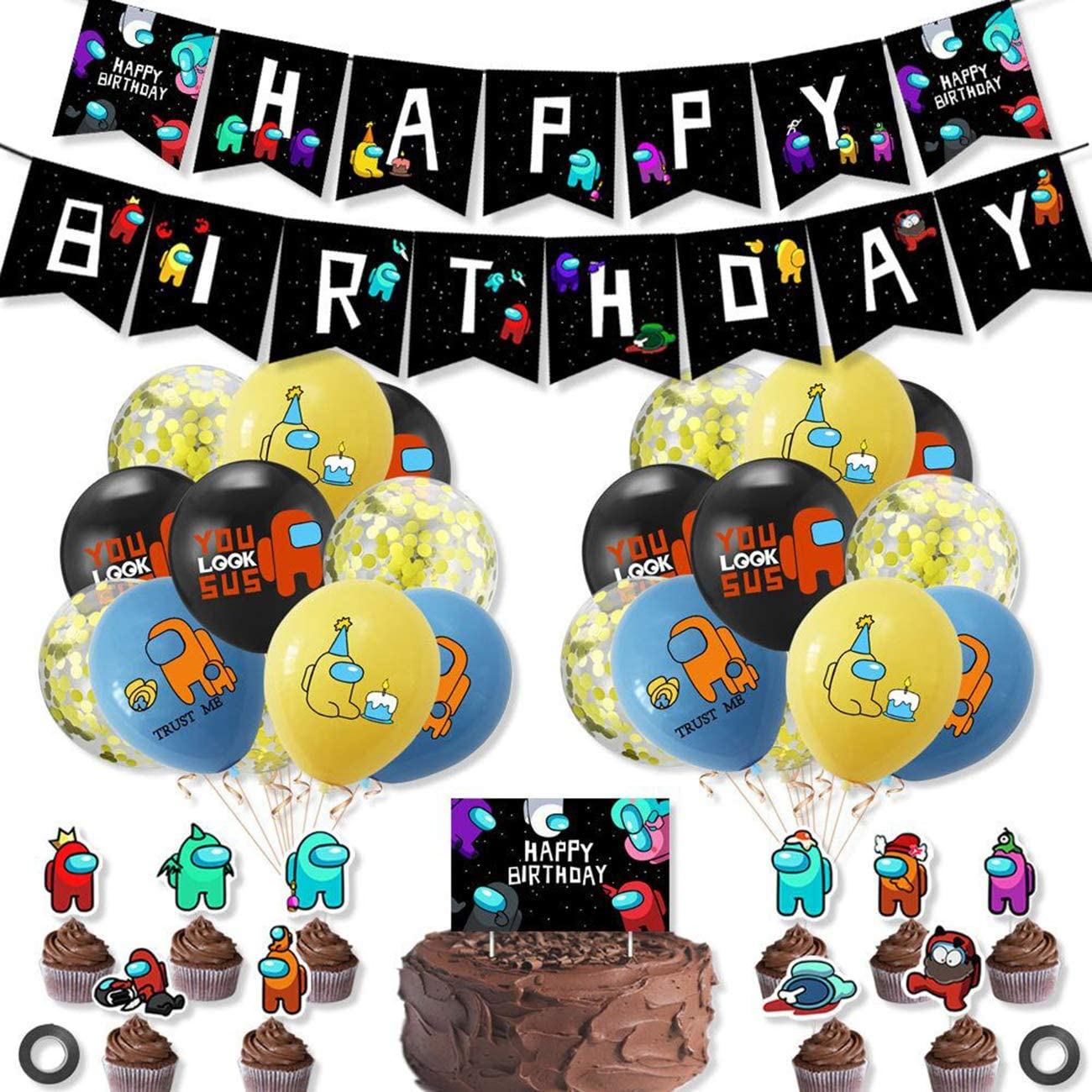 BLATOMY Among Us Birthday Party Decorations Cupcake Toppers Invitation Cards Balloons Among Us Theme Game Party Supplies for Kids with Happy Birthday Banner