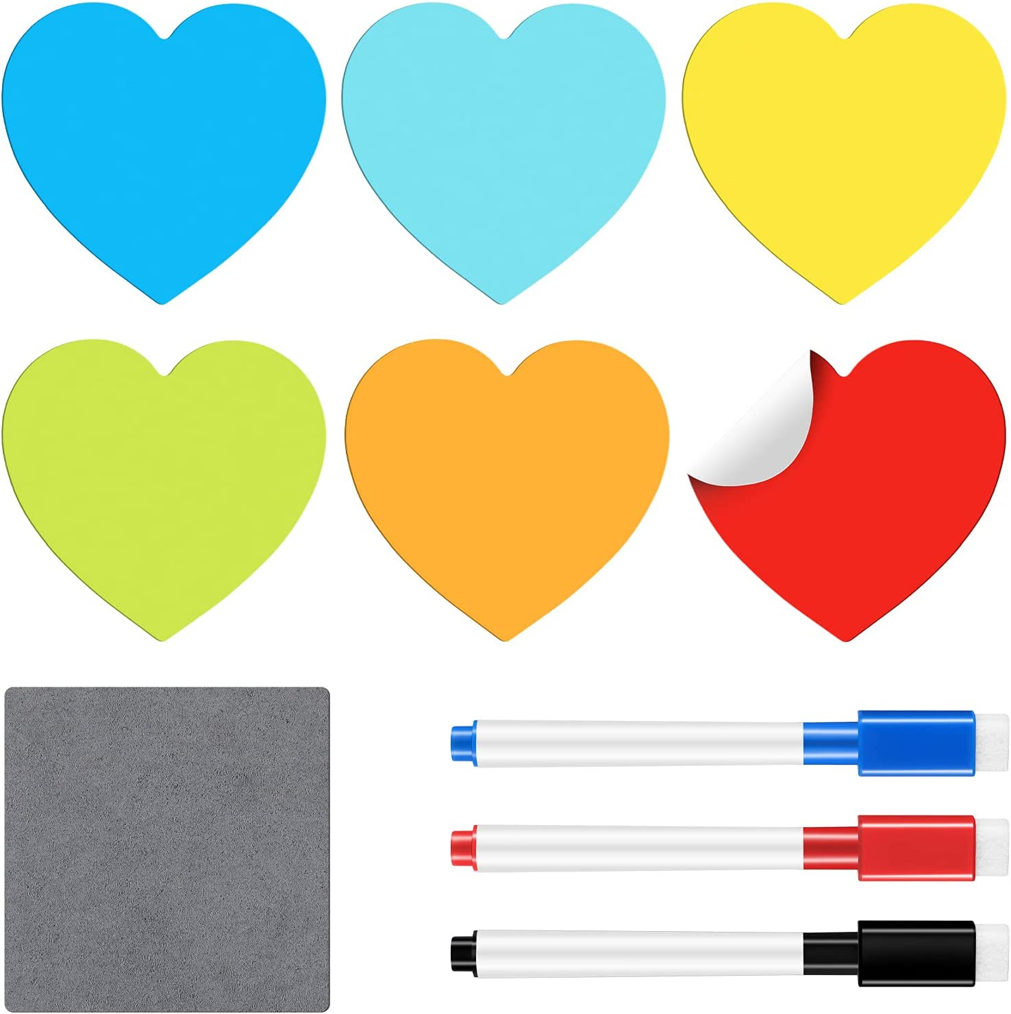 6 Pieces Reusable Dry Erase Sticky Notes Colorful Reusable Heart Whiteboard Labels Stickers 3 Pieces Erasable Fine Tip Markers with Erasers and a Small Wipe Cloth for Home Office Classroom 4 x 4 Inch