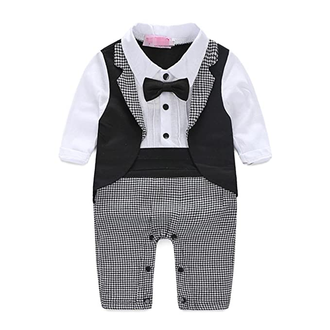 672c4c5f907 Image Unavailable. Image not available for. Color  Face Dream 1pc Baby Boy  Tuxedo Jumpsuit Toddler Gentleman Suit Party Wedding Formal Outfit