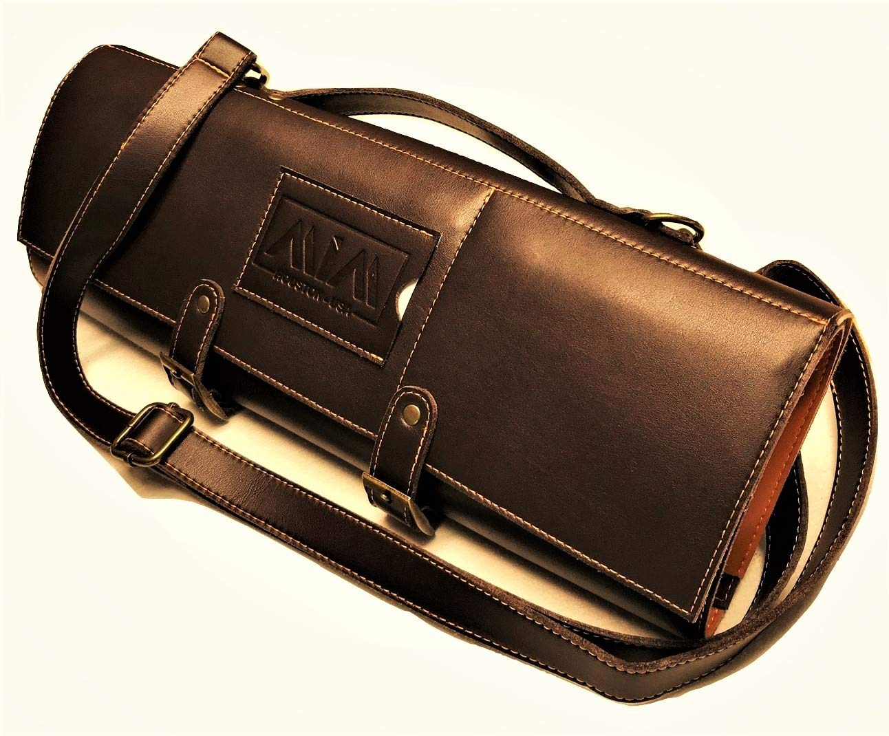 MiM Houston Chef Knife Bag | Large Chef Knife Roll Bag | Fine Leather | W/Business Card Slot | Dark Oak