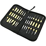 Ceramic Clay Pottery Sculpting Carving Tool Set, GoFriend 14 Pieces All-in-one Wood Clay Modeling Tools Boxwood Sculpture Ceramic Tools Kit with Canvas Zippered Case